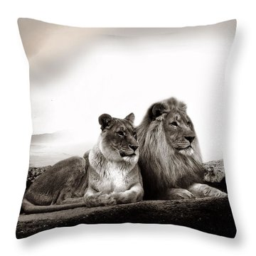 Lion Couple In Sunset Throw Pillow by Christine Sponchia