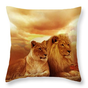 Lion Couple Without Frame Throw Pillow
