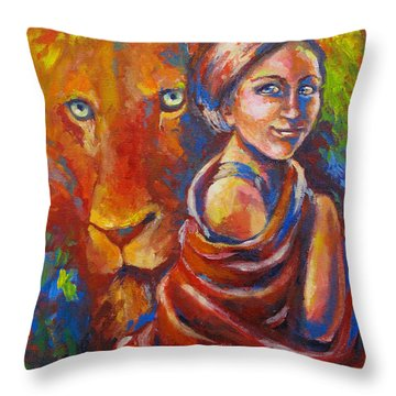 Lion Covering Throw Pillow by Tamer and Cindy Elsharouni
