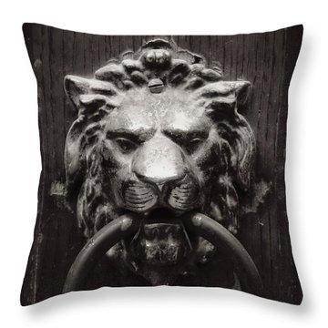 Lion Door Knocker Throw Pillow by Carol Groenen