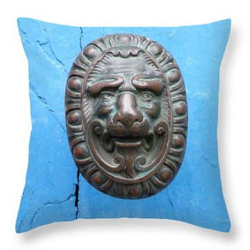 Lion Face Door Knob Throw Pillow by Lainie Wrightson