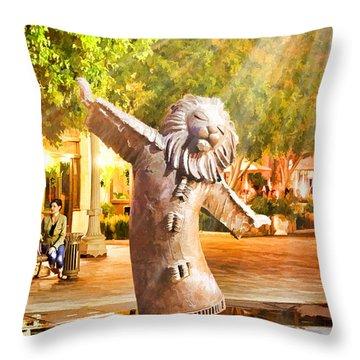 Lion Fountain Throw Pillow
