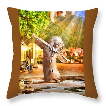 Lion Fountain Throw Pillow