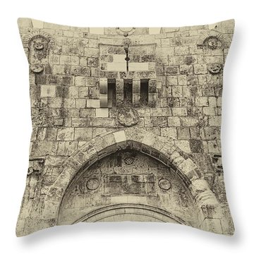 Lion Gate Jerusalem Old City Israel Throw Pillow