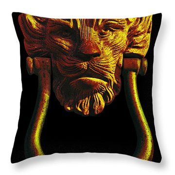 Lion Head Antique Door Knocker In Black And Gold Throw Pillow by Jane McIlroy