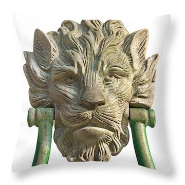 Lion Head Antique Door Knocker On White Throw Pillow by Jane McIlroy