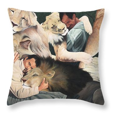 Lion Hugs Throw Pillow