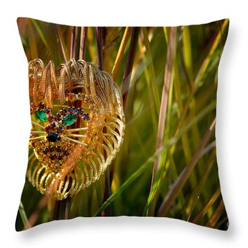 Lion In The Grass Throw Pillow by Amy Cicconi