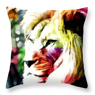 Throw Pillow featuring the painting Lion - Leone by Ze  Di