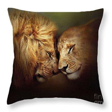 Lion Love Throw Pillow by Robert Foster