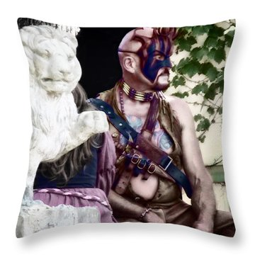 Lion Man Throw Pillow by Thomas Woolworth