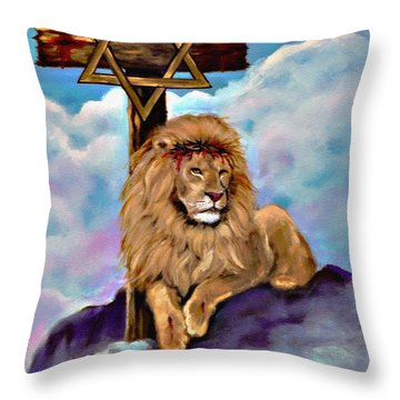 Lion Of Judah At The Cross Throw Pillow