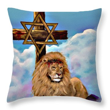 Throw Pillow featuring the painting Lion Of Judah At The Cross by Bob and Nadine Johnston