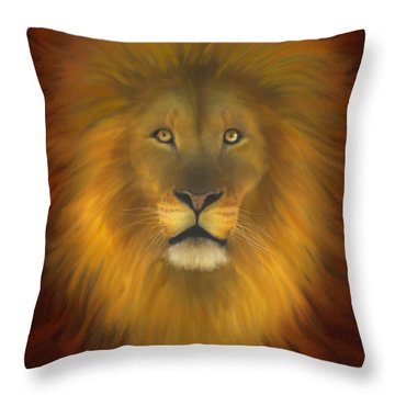 Lion Of Judah Fire In His Eyes 2 Throw Pillow by Constance Woods
