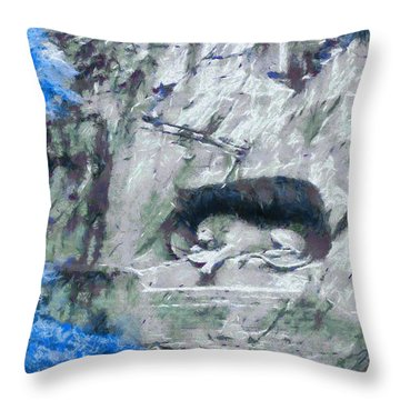 Lion Of Lucerne Throw Pillow by Dan Sproul