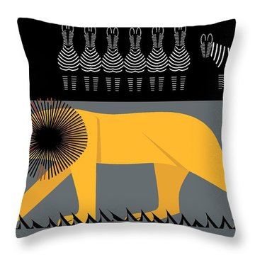 Lion On The Loose Throw Pillow