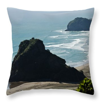 Lion Rock On Piha Beach Throw Pillow