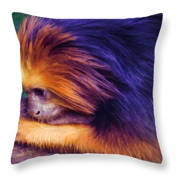Lion Tamarin Throw Pillow