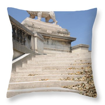 Lion Tuileries Garden Paris Throw Pillow by Jeremy Voisey