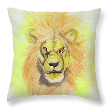 Lion Yellow Throw Pillow by First Star Art