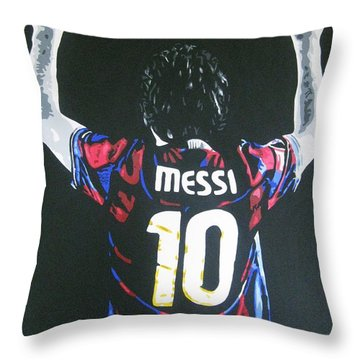 Lionel Messi - Barcelona Fc Throw Pillow