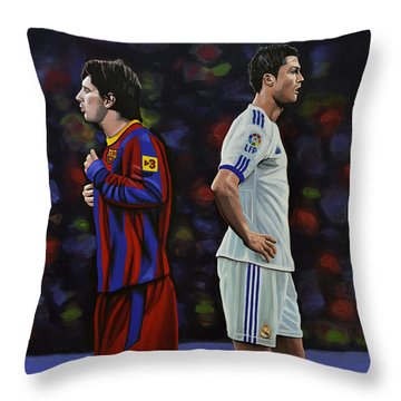 Lionel Messi And Cristiano Ronaldo Throw Pillow by Paul Meijering