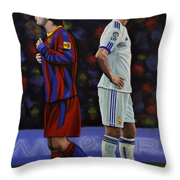 Lionel Messi And Cristiano Ronaldo Throw Pillow