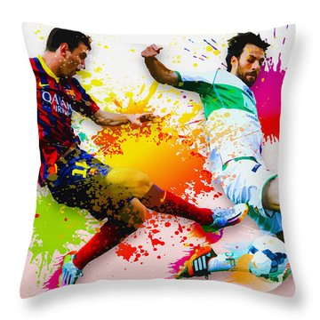 Lionel Messi Of Fc Barcelona Throw Pillow