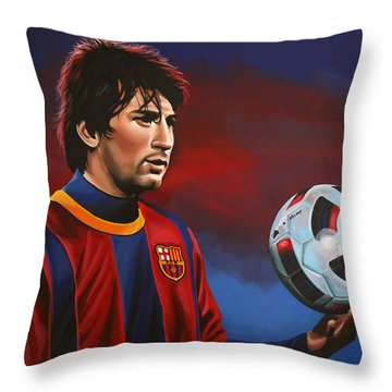 Lionel Messi 2 Throw Pillow by Paul Meijering