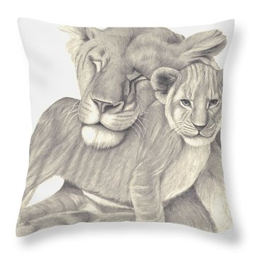 Throw Pillow featuring the drawing Lioness And Cub by Patricia Hiltz