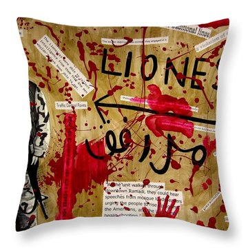 Throw Pillow featuring the mixed media Lioness by Michelle Dallocchio