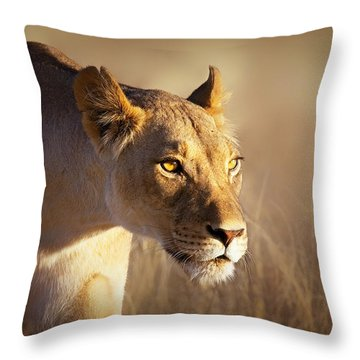 Lioness Portrait-1 Throw Pillow