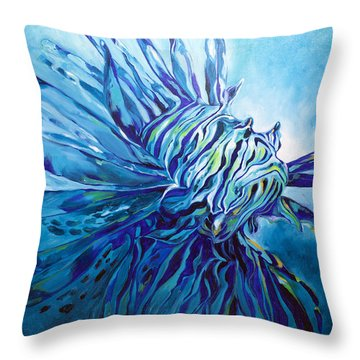 Lionfish Abstract Blue Throw Pillow