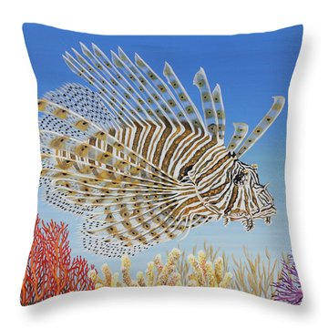 Throw Pillow featuring the painting Lionfish And Coral by Jane Girardot