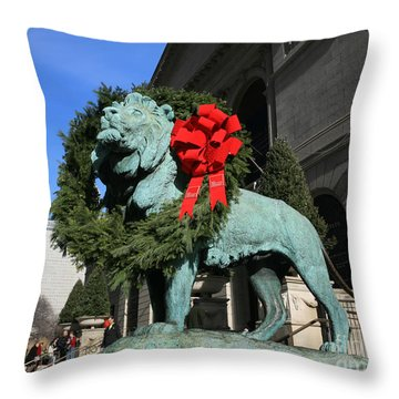 Lions At Christmas Throw Pillow