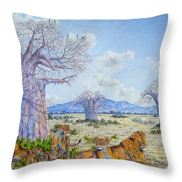 Lions By The Baobab Throw Pillow