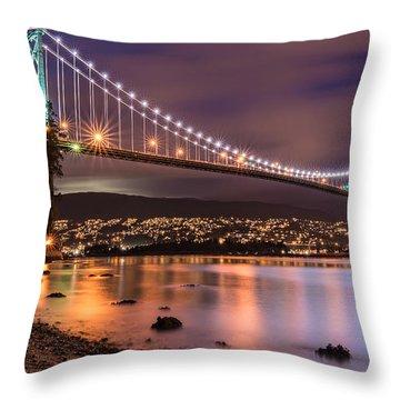 Lions Gate Bridge At Night Throw Pillow by James Wheeler