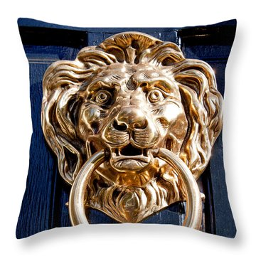 Throw Pillow featuring the photograph Lion's Head by Jean Haynes