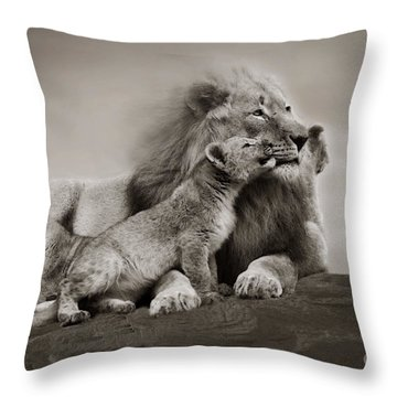 Throw Pillow featuring the photograph Lions In Freedom by Christine Sponchia