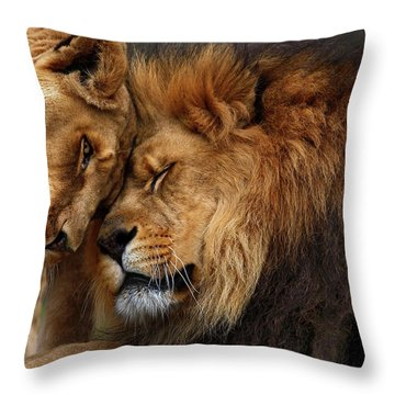 Lions In Love Throw Pillow by Emmanuel Panagiotakis