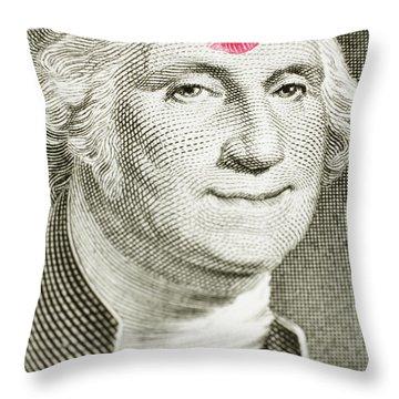 Lipstick Kiss On One Dollar Bill Throw Pillow
