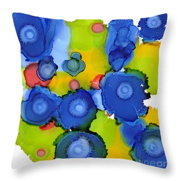 Liquid Blue Bonnets Throw Pillow