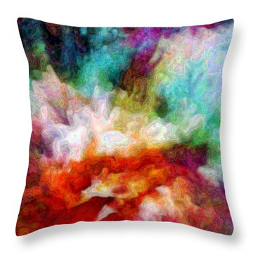 Throw Pillow featuring the digital art Liquid Colors - Enamel Edition by Lilia D