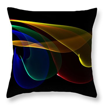 Throw Pillow featuring the digital art Liquid Colors by Pete Trenholm
