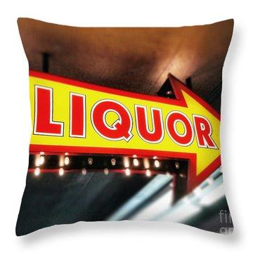 Liquor Store Sign Throw Pillow