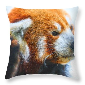 Listening Red Panda Throw Pillow