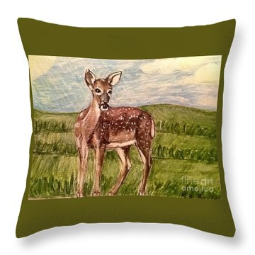 Throw Pillow featuring the painting Listening To The Creator's Voice by Kimberlee Baxter