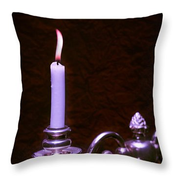 Lit Candle Throw Pillow by Amanda Elwell