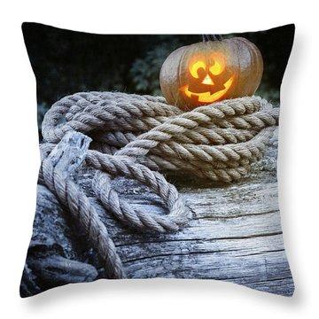 Lit Pumpkin Throw Pillow