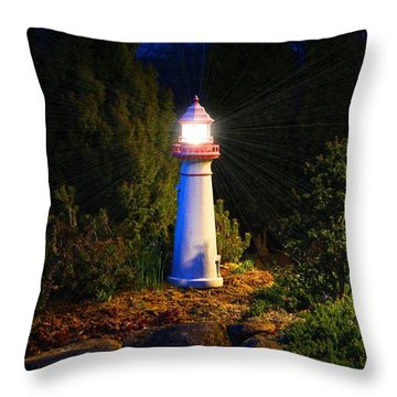 Lit-up Lighthouse Throw Pillow by Kathryn Meyer